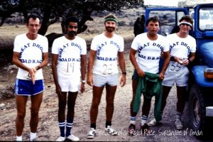 The Great Dhofar Road Race, Sultanate of Oman. Airwork runners looking forward to the next 30k, not sure of the date but sometime in the early 80's.