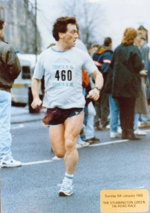 Finishing the Stubbington 10k road race, January 1992. The course originally went around the airfield and golf course before heading back to Stubbington
