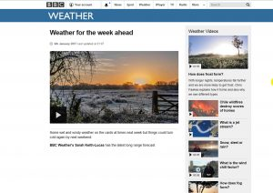 Screen shot of my photograph of the sunrise over Titchfield Haven used by the BBC 'weather for the week ahead'