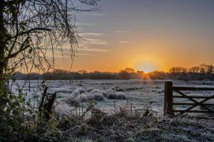 Sunrise over Titchfield Haven National Nature Reserve near Titchfield, Hampshire.