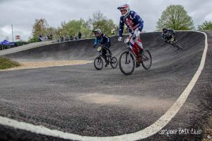 Massive berms at the redeveloped Gosport BMX Clubs track on the edge of the Alver Valley