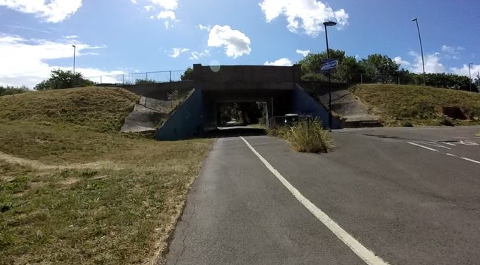 The end of the Eclipse Busway - Rowner arch and shared pedestrain and cycle underpass
