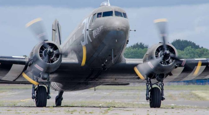 "Douglas Dakota ""Drag 'em Oot"" D Day 75 commemorations at Solent Airport Daedalus"