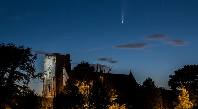 Comet Neowise above Holy Rood Church, Stubbington